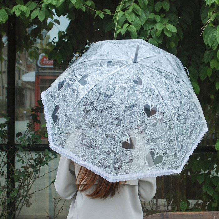 Becko Flower & Heart Pattern Clear Bubble Umbrella(White)