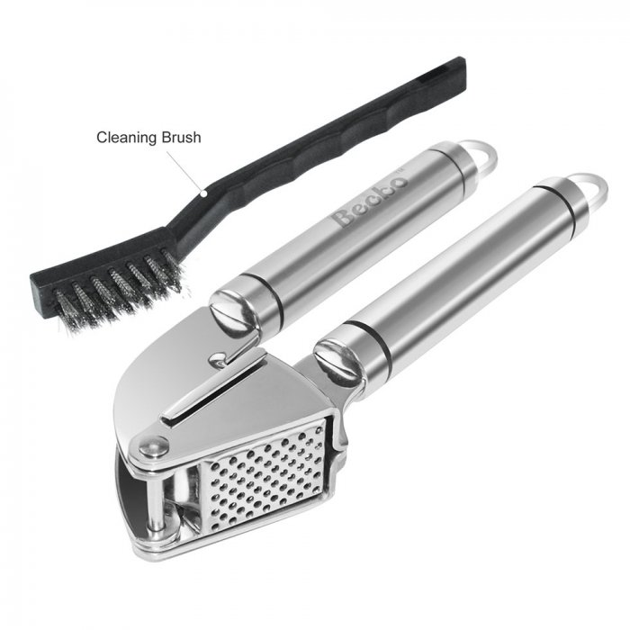 Becko Stainless Steel Garlic Press with Cleaning Brush