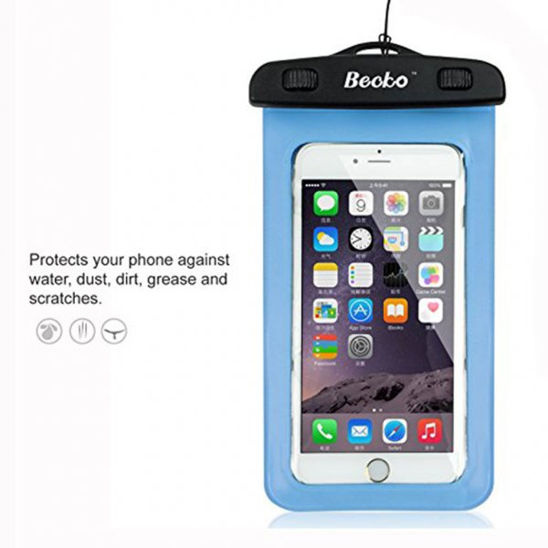 "5.5"" Blue Waterproof Cell Phone Pouch"