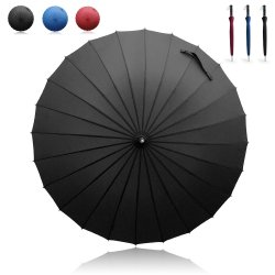 Becko Black Manual Open & Close Long Umbrella with 24 Ribs