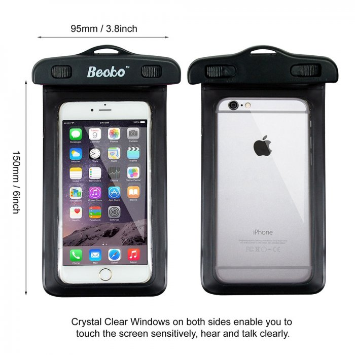 "Becko Black Waterproof Case Touch Dry Bag,for 4.7"" Cell Phone"