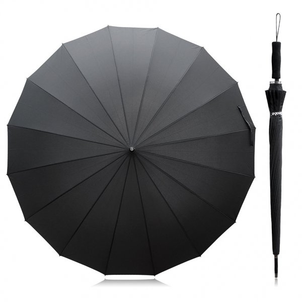 Becko 47 Inches Black Auto Open Stick Umbrella with 16 Ribs