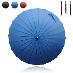 Becko Blue Manual Open & Close Long Umbrella with 24 Ribs