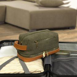 Leather Canvas Travel Toiletry Bag