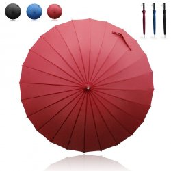 Becko Red Manual Open & Close Long Umbrella with 24 Ribs