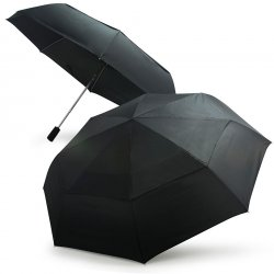 Becko Black Automatic Double-canopy Wind-proof Folding Umbrella