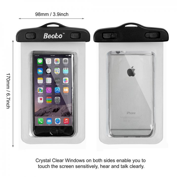 "Becko 5.5"" White Waterproof Case Touch Responsive Front and Back"