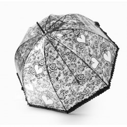 Becko Flower & Heart Pattern Clear Bubble Umbrella(Black)