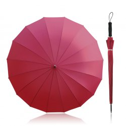Becko 47 Inches Red Auto Open Stick Umbrella with 16 Ribs