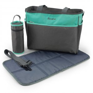 Becko Diaper Tote bag with Chnaing Pad & Insulated Bottle Pocket