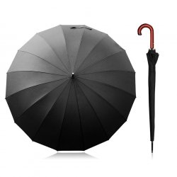 Becko 47 Inches Wooden Bent Handle Long Umbrella with 16 Ribs